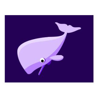 Purple Cartoon Whale Postcards