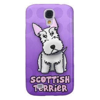 Purple Cartoon White Scottish Terrier Samsung Galaxy S4 Case