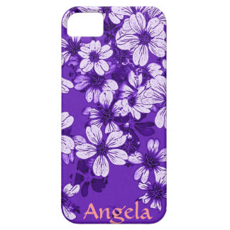 purple case with white flowers iPhone 5 cover