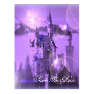 purple castle gothic wedding save the date postcard