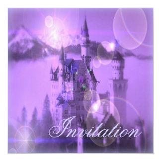"""Purple Castle Princess Birthday Party Invitation 5.25"""" Square Invitation Card"""