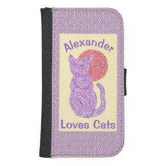 Purple Cat And The Moon Cat Lover Feline Kitten Galaxy S4 Wallet Case
