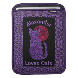 Purple Cat And The Moon Cat Lover Feline Kitten Sleeves For iPads