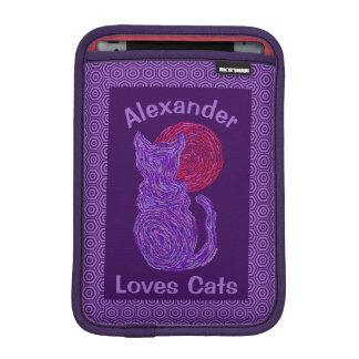 Purple Cat And The Moon Cat Lover Feline Kitten iPad Mini Sleeves