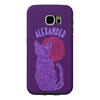 Purple Cat And The Moon Cat Lover Feline Kitten Samsung Galaxy S6 Case