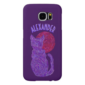 Purple Cat And The Moon Cat Lover Feline Kitten Samsung Galaxy S6 Cases