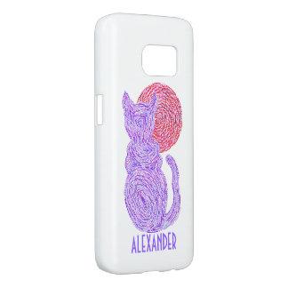 Purple Cat And The Moon Cat Lover Feline Kitten Samsung Galaxy S7 Case