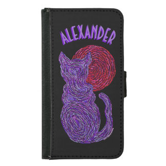 Purple Cat And The Moon Cat Lover Feline Kitten Wallet Phone Case For Samsung Galaxy S5