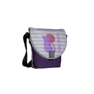 Purple Cat And The Moon Cat Lover Personalized Courier Bags