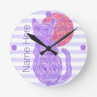 Purple Cat And The Moon Cat Lover Personalized Round Clock