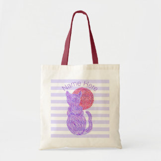 Purple Cat And The Moon Cat Lover Personalized Tote Bag