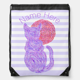 Purple Cat And The Moon Cat Lover Stripes Drawstring Bag
