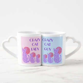 Purple Cat And The Moon Crazy Cat Guy & Lady Mugs
