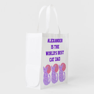 Purple Cat And The Moon Personalized Best Cat Dad Grocery Bags