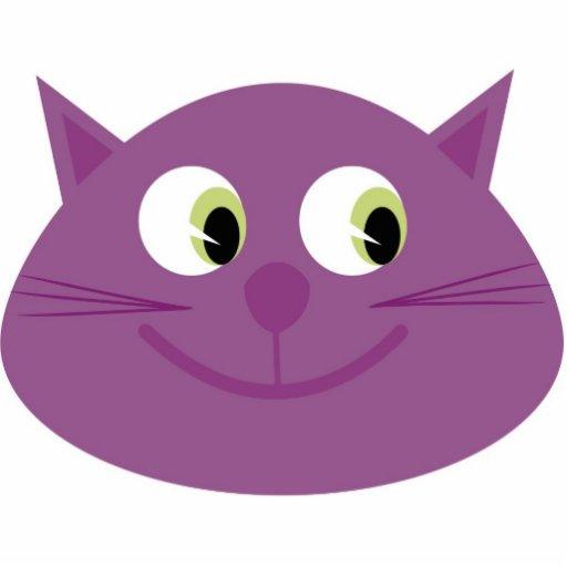 Purple cat brooch photo sculpture button