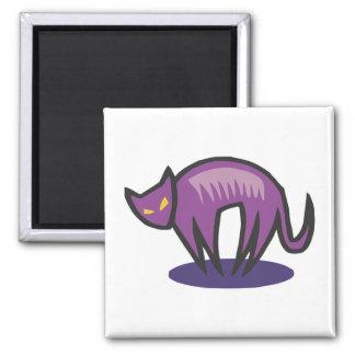 Purple Cat Demon 2 Inch Square Magnet