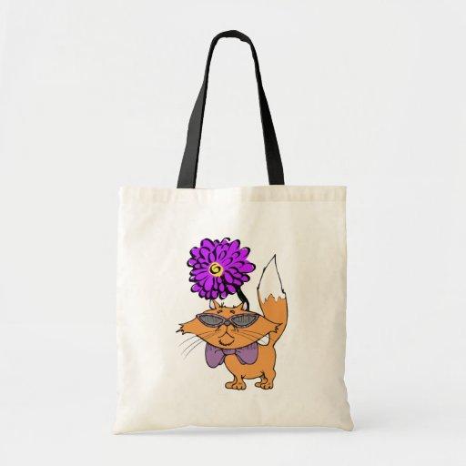 Purple Cat Dude Budget Tote Bag