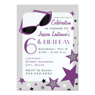 Purple Cat Eye Sunglasses & Stars Girl's Birthday Card