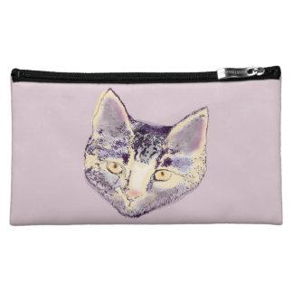 Purple Cat Face Cosmetic Bag