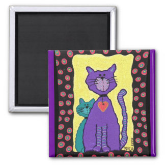 Purple Cat & Kitty - magnet