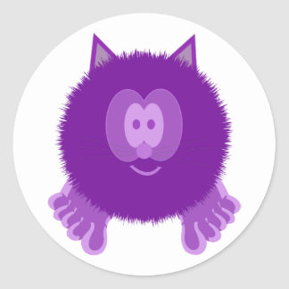 Purple Cat Pom Pom Pal Stickers