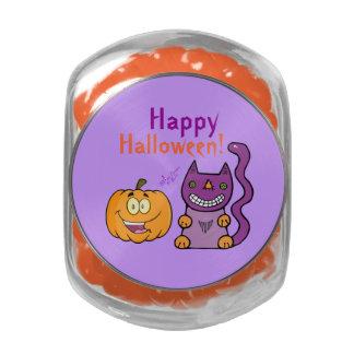 Purple Cat & Pumpkin Glass Candy Jar Jelly Bellies