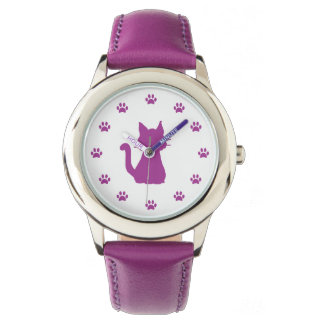 Purple Cat Silhouette with Paws as Numbers Wristwatches