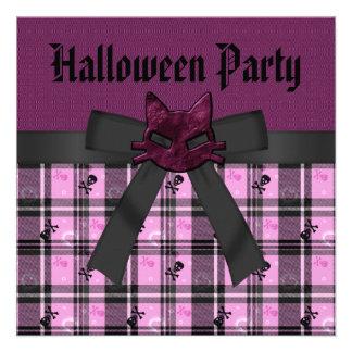 Purple Cat Skulls Pink Black Halloween Party Announcements
