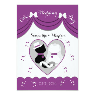 Purple Cat Wedding Couple Invitations