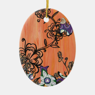 Purple Cats and Butterfly Ornament