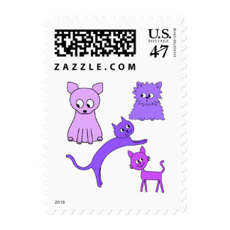 Purple Cats. Postage Stamp