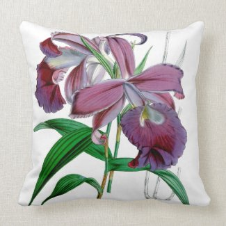 Purple Cattleya Orchids Botanical Throw Pillow