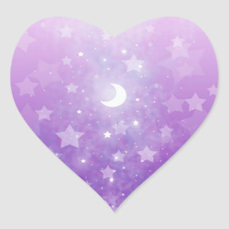 Purple Celestial Fantasy Art Stars and Moon Heart Sticker