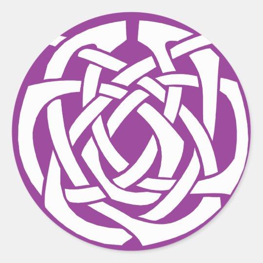 Purple Celtic Circle Classic Round Sticker
