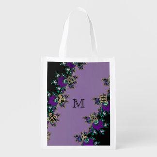 Purple Celtic Fractal Mystic Symbols Reusable Grocery Bag