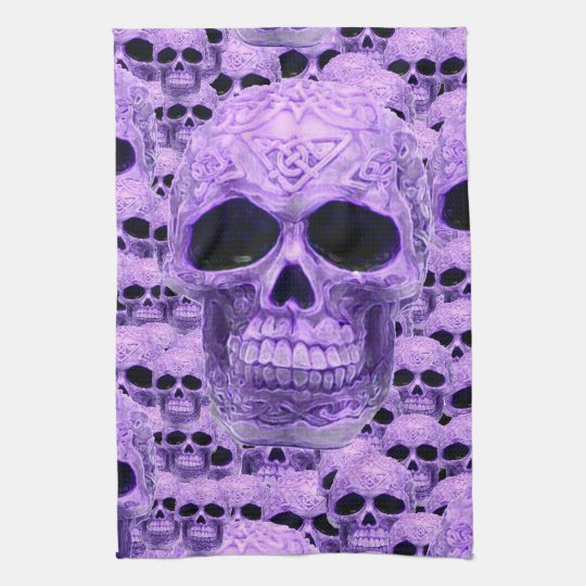 Purple celtic gothic skull kitchen towel