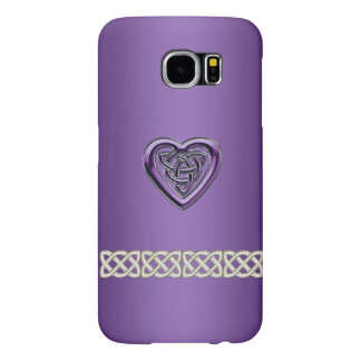 Purple Celtic Heart Knot and Chain Galaxy S6 Case