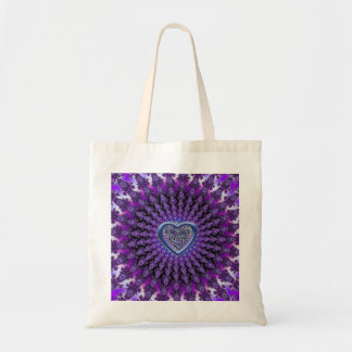 Purple Celtic Heart Knot Fractal Mandala Tote Bag