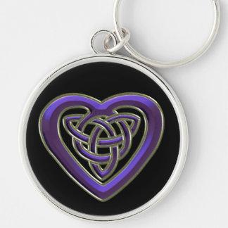 Purple Celtic Heart Knot Keychain