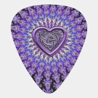 Purple Celtic Heart Knot Star Fractal Guitar Pick