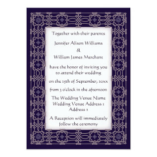 Purple Celtic Knot Border Wedding Invitations at Zazzle