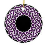 Purple celtic knotwork basket ceramic ornament