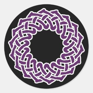 Purple celtic knotwork basket classic round sticker