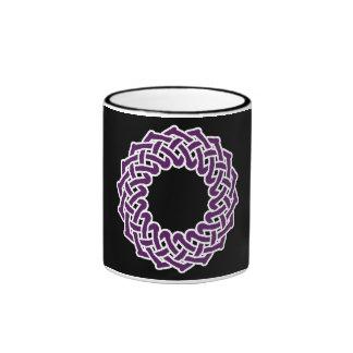 Purple celtic knotwork basket coffee mug
