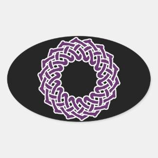 Purple celtic knotwork basket oval sticker