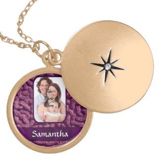 Purple Celtic knotwork symbol Locket Necklace