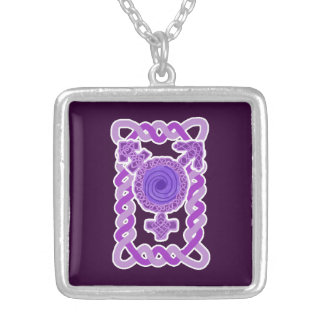 Purple Celtic Knotwork Transgender Symbol Square Pendant Necklace