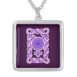 Purple Celtic Knotwork Transgender Symbol Silver Plated Necklace