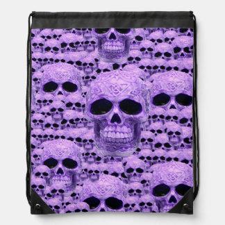 Purple celtic skull pattern drawstring backpack