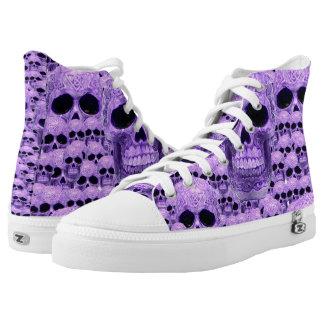 Purple celtic skull pattern printed shoes